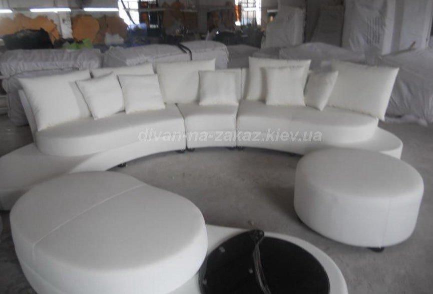 большой белый полукруглый диван на заказ