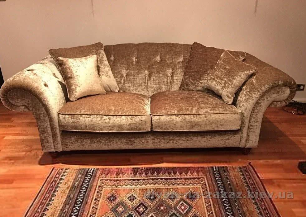 прямой желтый диван под заказ