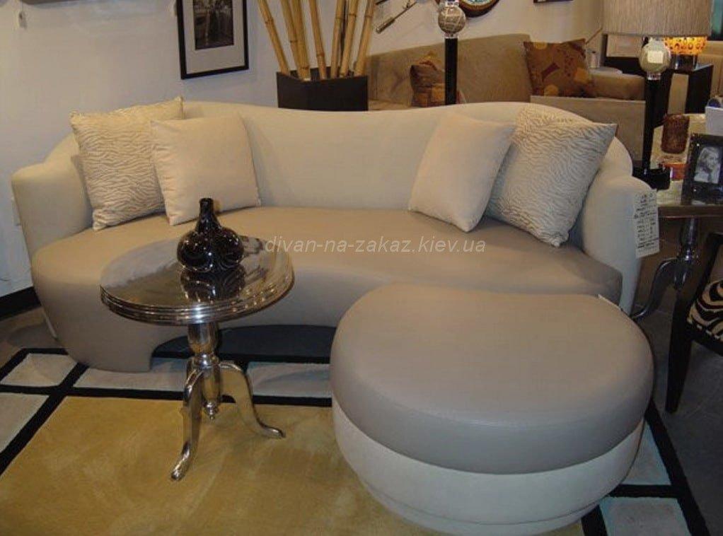 прямой диван с круглой приставкой