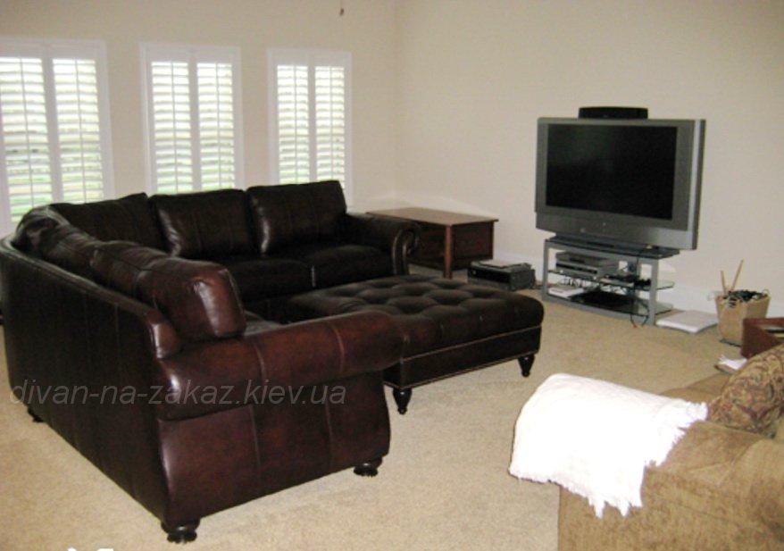 Коричневый кожаный диван на заказ