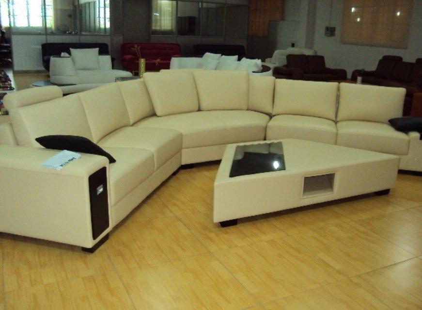 угловой диван под заказ с трапециевидным пуфиклм