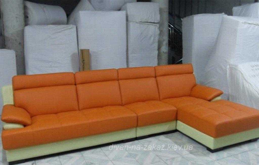 оранжевый большой угловой офисный диван