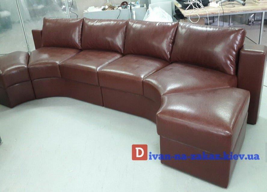 круглый модульный диван коричневый