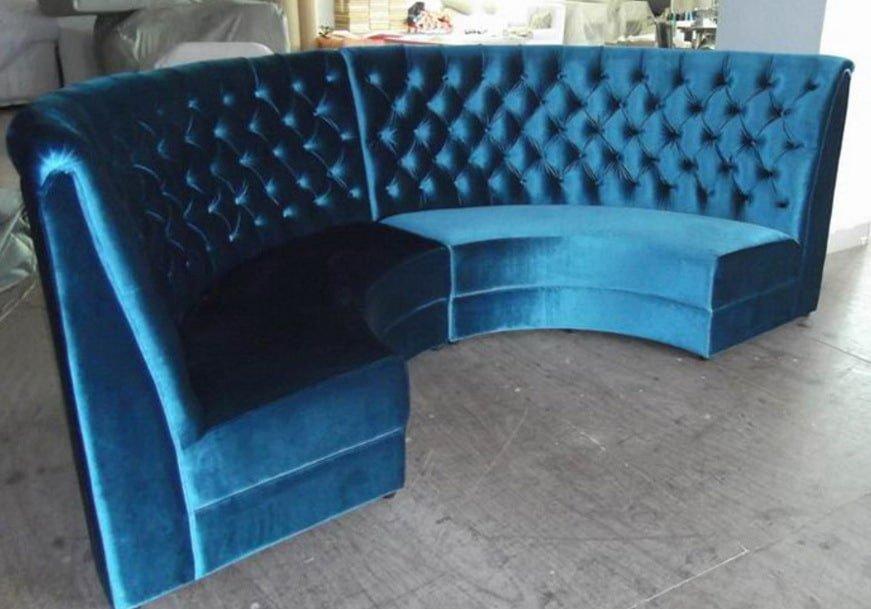 синий диван круглой формы на заказ