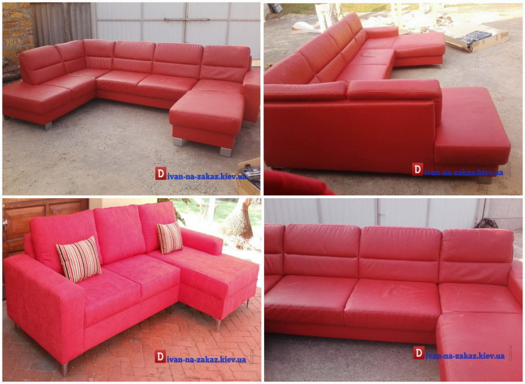 угловой красный диван на заказ