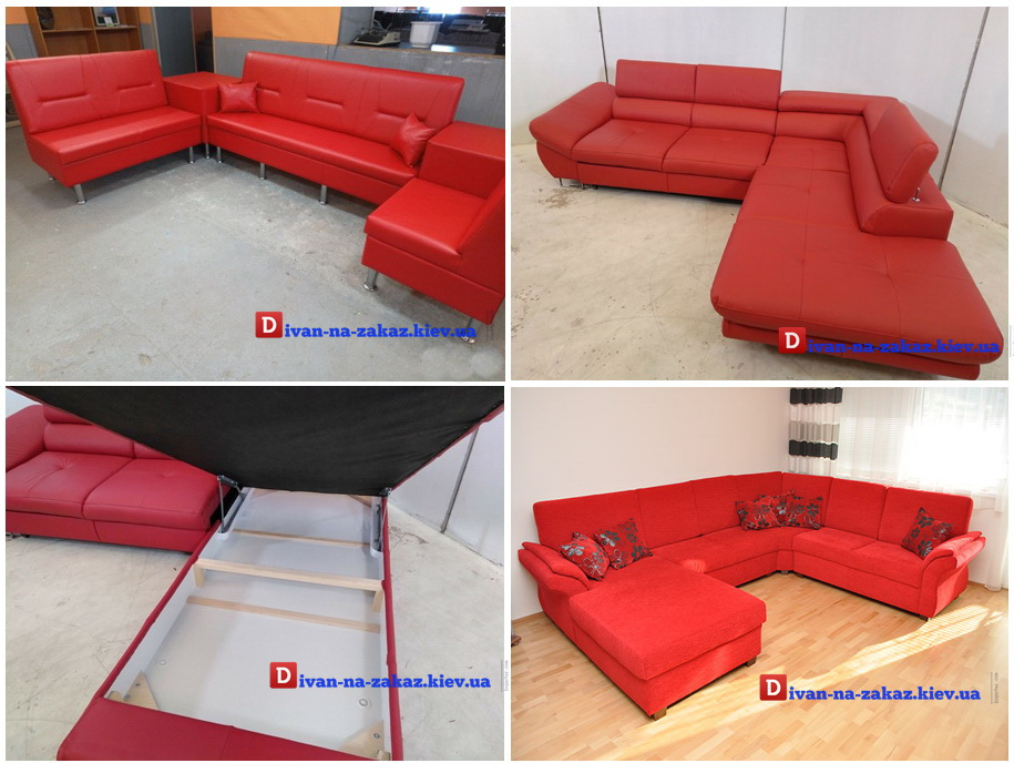 красная мягкая мебель на заказ