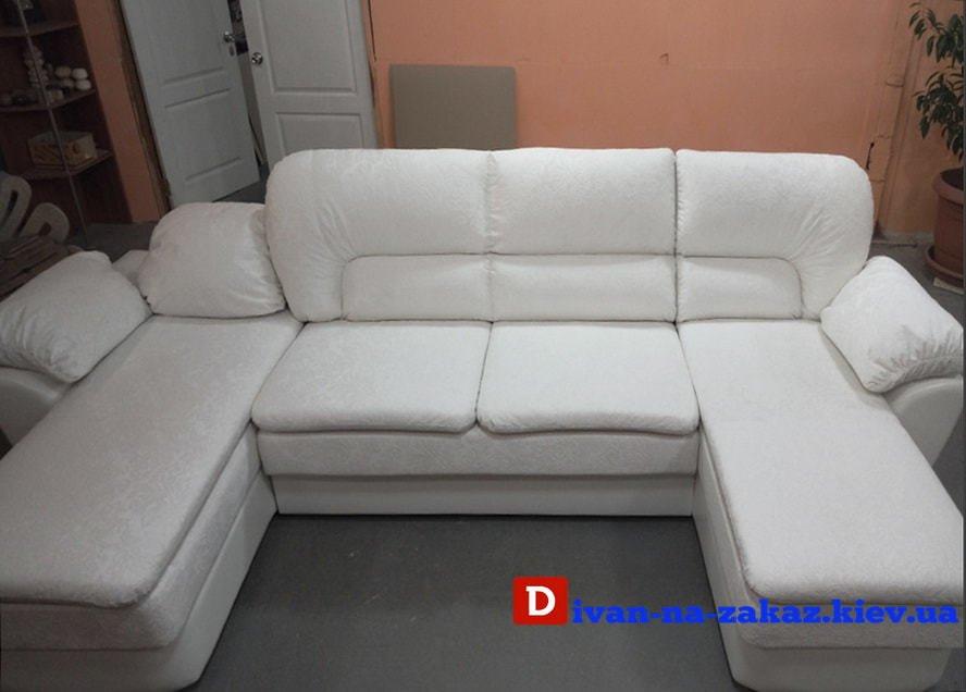 белый п образный диван для гостинной со спальным местом в прихожую