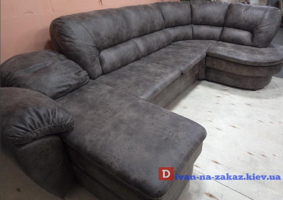 белый кожаный диван п образный со спальным местом на заказ