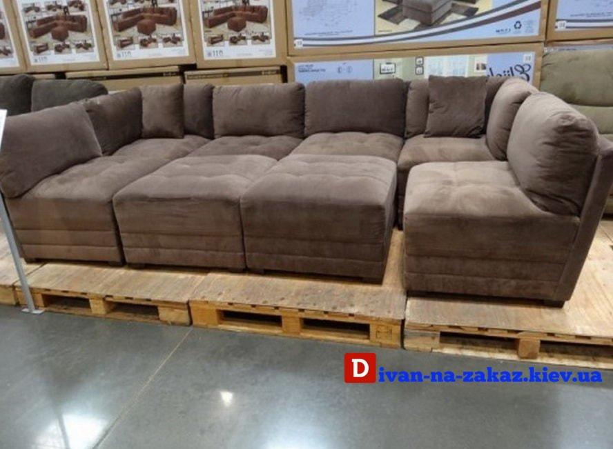 модульный коричневый диван