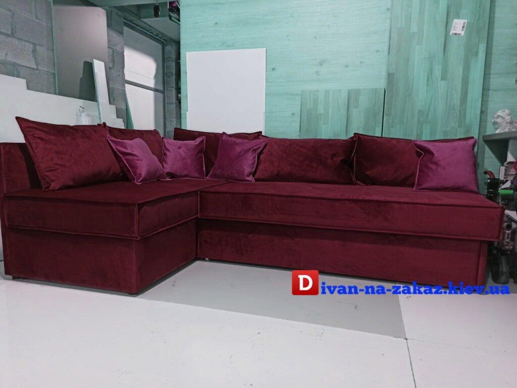 большой диван со спальным местом на заказ красного цвета